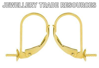 NEW 9ct YELLOW GOLD EARRING EAR WIRES JEWELLERY MAKING SAFETY HOOK