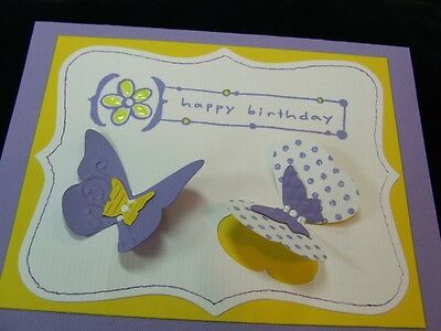 Handmade ~BIRTHDAY~ Card Embossed  Using Stampin Up! BUTTERFLY