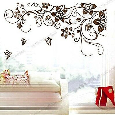 Removable Flower Vine Butterfly Tree Vinyl Wall Stickers Mural Art Decals Brown