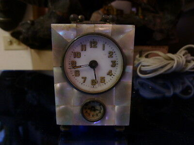 Very Fine Miniature Mother Of Pearl Alarm Clock With Two Dials As Is