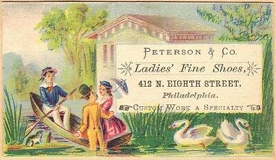 Victorian Trade Card-Peterson & Co Shoes-Philadelphia PA-Man Rowing Couple-Swans