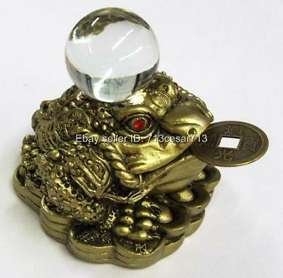 Brass Tone Feng Shui Money Lucky Oriental Chinese Coin Money Toad Frog w/Ball #Y