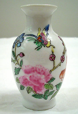 Oriental Objects D'art Small Butterflys And Flowers Porcelain Bud Vase # 2