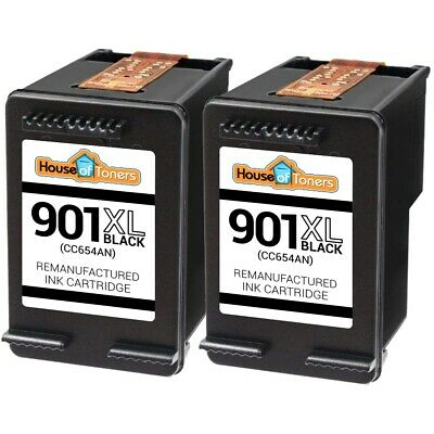 2 High Yield Ink Cartridges for HP 901 XL Black Fits Officejet J4500 Printers