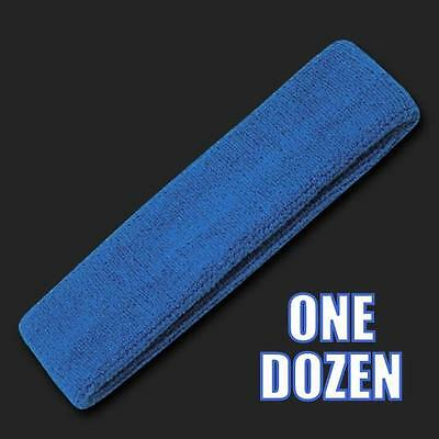 One Dozen Royal Blue Terry Cloth Elastic Sports Headband Headbands Sweatbands