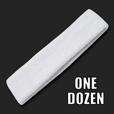 One Dozen White Terry Soft Cloth Elastic Sports Headband Headbands Sweatbands