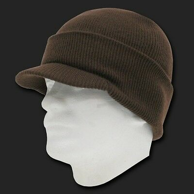 0a5661f18e0 New Brown Ski Visor Beanie Hat Cap Knit Skull Winter Jeep Snowboard Hats  Beanies