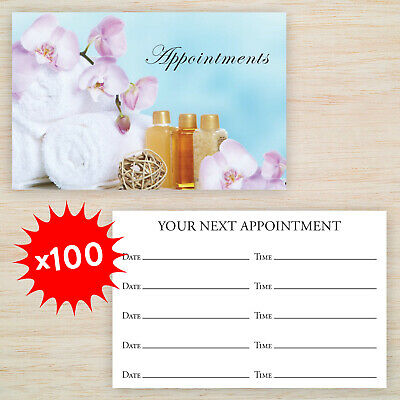 100 x Appointment Cards Spa Beauty Massage *Matching Loyalty Cards Available*