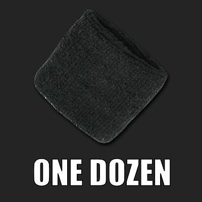 One Dozen Black Terry Soft Cloth Elastic Sports Wristband Wristbands Sweatbands