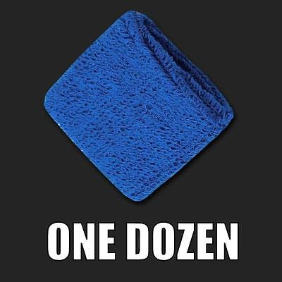 One Dozen Royal Blue Terry Cloth Elastic Sports Wristband Wristbands Sweatbands