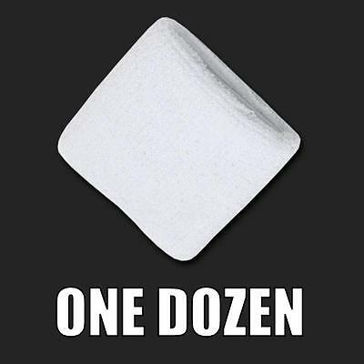 One Dozen White Terry Soft Cloth Elastic Sports Wristband Wristbands Sweatbands