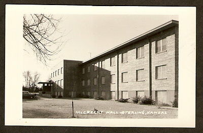 RPPC McCreery Hall FEMALE DORM Sterling College Kansas 1950s Real Photo Postcard