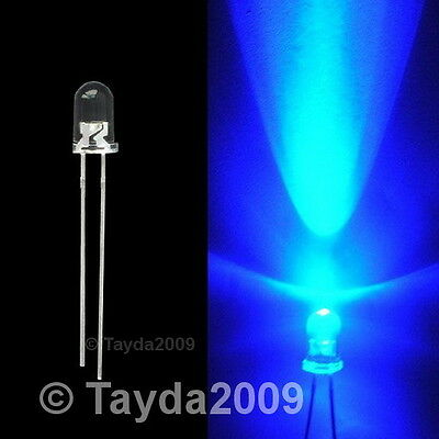 50 x LED 3mm Blue Water Clear Ultra Bright - FREE SHIPPING