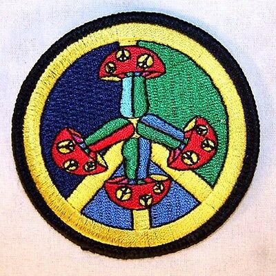 MUSHROOM PEACE SIGN EMBRODIERED PATCH P605 new jacket bikers novelty patches sew