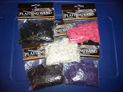 Lincoln Plaiting Bands (pack of 500) - Black, White, Brown Pink or Purple