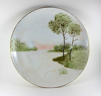 Antique Krister KPM Silesia Hand Painted Plate Signed E. Opie Windmill River