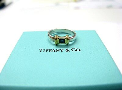 Fine Tiffany & Co Blue Sapphire Ring 18KT Yellow Gold/ Sterling Silver Size 5.25