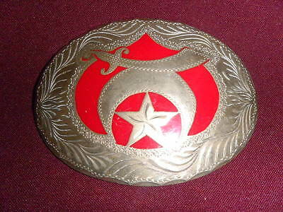 men's handmade belt buckle Ancient Arabic Order Nobles Mystic Shrine engraved