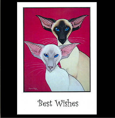 Large Sealpoint & Lilacpoint Siamese Cat Greetings Card  By Suzanne Le Good