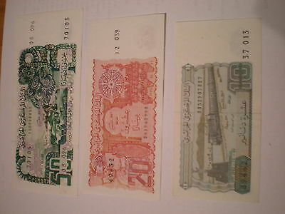 Algeria Lot 3 Diff Notes 10-20-50 Dinars. Xf Condition