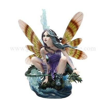 LARGE OCEAN FAIRY WITH BLUE DRAGON STATUE FIGURINE FAIRYLAND MEADOW LEGENDS