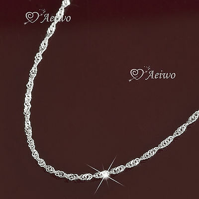 Hallmarked 925 Sterling Silver Singapore Twist Chain Necklace Made In Italy