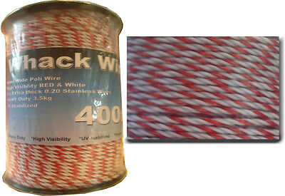 400m 4mm WHACK WIRE- Horsley Wholesale Electric Fencing Cord RRP $98.00