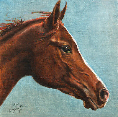 ★ Original Oil HORSE Portrait Painting PONY Art Artwork on Canvas Wild Brown