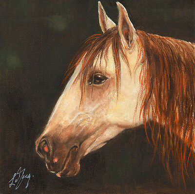 ★ Original Oil HORSE Portrait Painting PONY Art Artwork on Canvas Brown