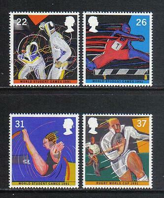 Great Britain 1991 Sporting Events--Attractive Sports Topical (1378-81) MNH
