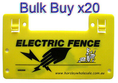 20 x Electric Fence WARNING SIGNS RRP$95.00 Horsley Wholesale BULK BUY DEAL