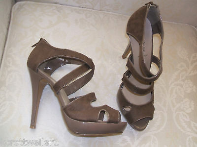 b213d0333c0 New Look Size 6 7 Coffee Taupe Mink Faux Suede High Heel Strappy Sandals  Shoes
