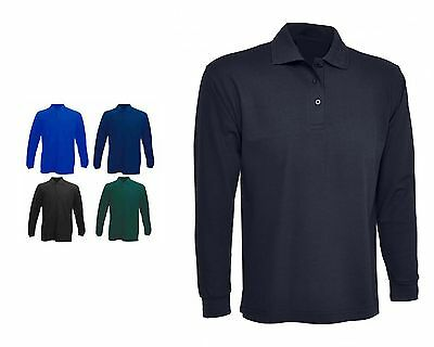 Mens Plain Long Sleeve Classic Polo T Shirts Size XS to 4XL SPORTS & CASUAL 113