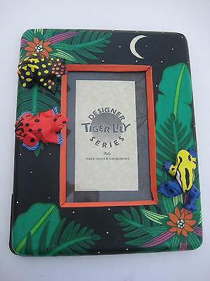 Wood Photo Frame 4x6 Black Hand Painted with Frogs Moon Leaves Jungle Theme