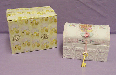 New in Box Enesco Precious Moments Porcelain Hope Chest Sweetheart Girl Pink Key