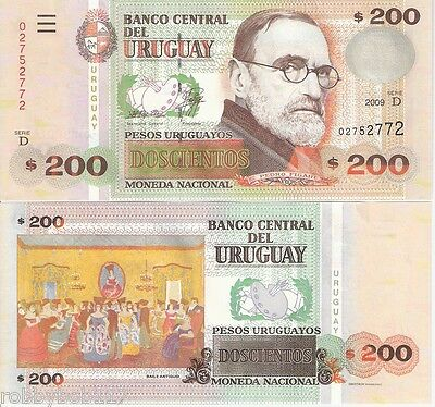URUGUAY 200 Pesos Banknote World Money UNC Currency BILL South American Note p89