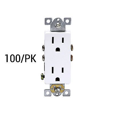 125-Volt 15-Amp Receptacle Electrical Outlet 3-Wire Plug White - 100 Pack Lot