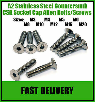 A2 Stainless Steel Countersunk Socket Screws Allen Head Screw Bolts - M5