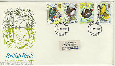 A Lovely Great Britain Birds Fdc 1980 Post Office, Postmarked Birmingham