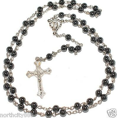 """Rosary Necklace Black Religious Rosarie black Hematite beads silver 31"""" long"""