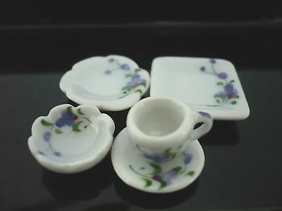 10 Coffee Mug Purple Orchid with Blue  Dollhouse Miniatures Cearmic Supply Food