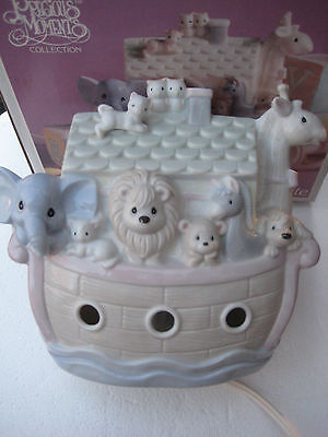 Precious Moments Noah's Ark Nitelite Baby Nursery Decor 1992 Enesco with Box