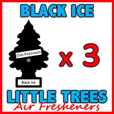3 x BLACK ICE LITTLE TREES AIR FRESHENERS Freshener Scent Car Taxi Truck Uber