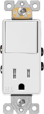ENERLITES Single Pole Decorator Switch Outlet 15A Plug Light Switch Combo