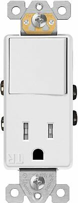 Single Pole Decorator Switch Outlet 15A Plug Light Switch Combo