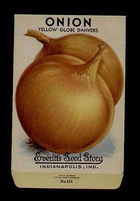 1940's ONION YELLOW GLOBE LITHO SEED PACKET- EVERITT'S SEED, INDIANAPOLIS,IND