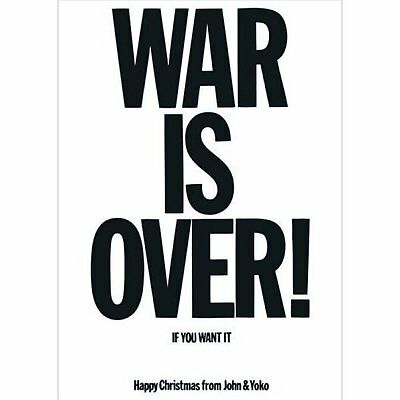 The Beatles John Lennon Postcard War Is Over Black White Picture 100% Official