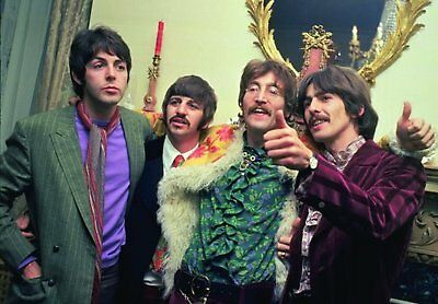 The Beatles Sgt Peppers Launch Group Colour Photograph Picture Postcard Official