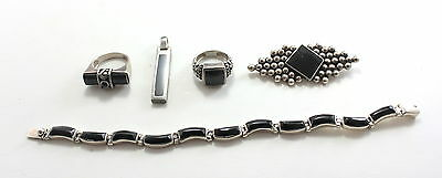 Lot Onyx Sterling 925 950 Silver Jewelry Mexico Taxco Bracelet Ring Pin Obsidian