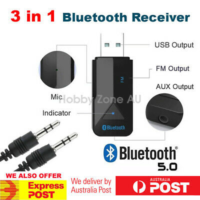 3in1 Bluetooth 5.0 Wireless Audio Receiver USB Adapter FM Transmitter 3.5mm AUX